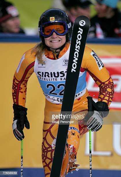 Brigitte Acton of Canada is seen after her second run of the Giant Slalom at the FIS Womens Alpine World Cup on November 25 2006 in Aspen Colorado
