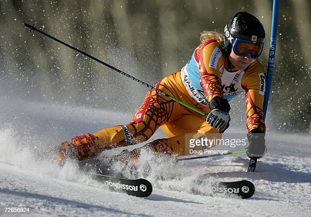 Brigitte Acton of Canada makes her first run of the Giant Slalom at the FIS Womens Alpine World Cup on November 25 2006 in Aspen Colorado