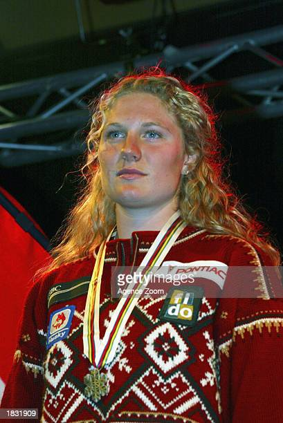 Brigitte Acton of Canada poses with her silver medal after the Womens Super Giant Slalom competition at the FIS Junior Skiing World Championship on...