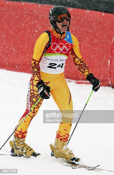 Brigitte Acton of Canada reacts after her second run of the Final of the Womens Alpine Skiing Giant Slalom on Day 14 of the 2006 Turin Winter Olympic...