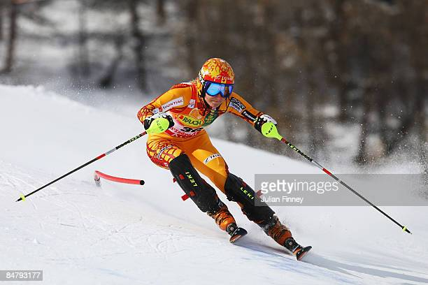 Brigitte Acton of Canada skis during the Women's Slalom event held on the Face de Bellevarde course on February 14 2009 in Val d'Isere France