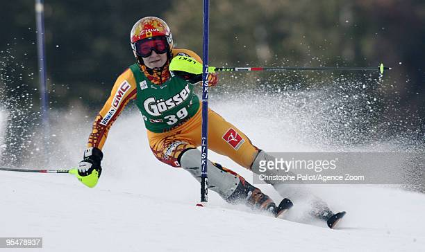 Brigitte Acton of Canada takes 17th place during the Audi FIS Alpine Ski World Cup Women's Slalom on December 29 2009 in Lienz Austria