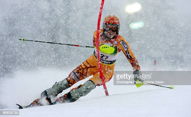 Brigitte Acton of Canada takes 23th place during the Audi FIS Alpine Ski World Cup Women's Slalom on January 17 2010 in Maribor Slovenia
