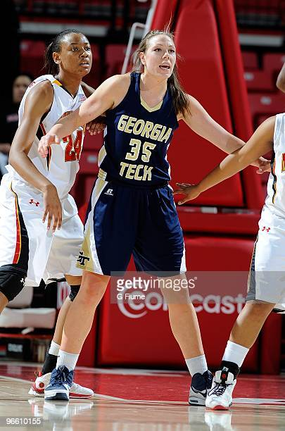 Brigitte Ardossi of the Georgia Tech Yellow Jackets boxes out during the game against the Maryland Terrapins at the Comcast Center on February 5 2010...