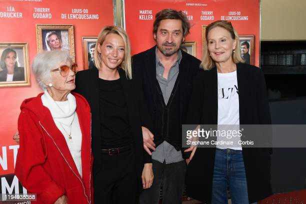 Brigitte Auber Laura Smet LouisDo de Lencquesaing and Marthe Keller attend The La Sainte Famille premiere at UGC Les Halles on December 19 2019 in...