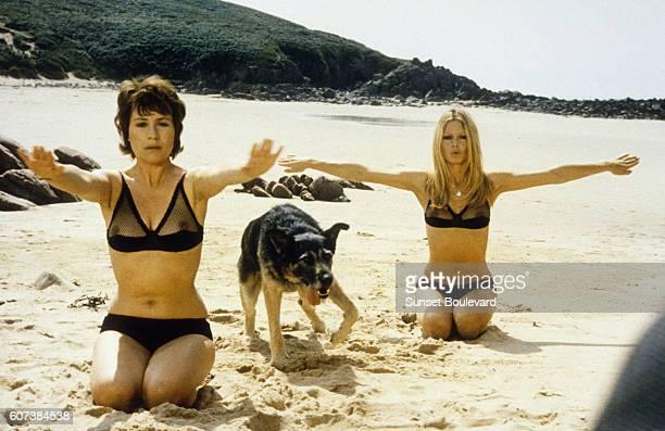 Brigitte Bardot and Annie Girardot on the set of Les Novices 1970