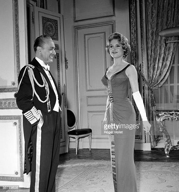 Brigitte Bardot and Charles Boyer during the shooting of the film A Parisian of Michel Boisrond in 1957 ADR275016