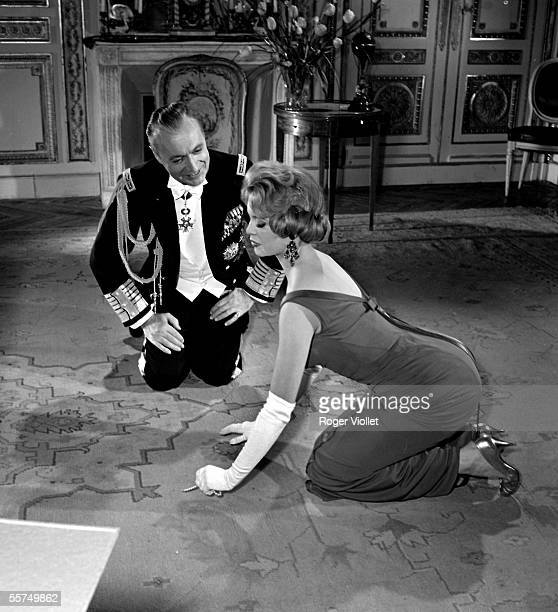 Brigitte Bardot and Charles Boyer during the shooting of the film A Michel Boisrond's Parisian 1957 ADR275019