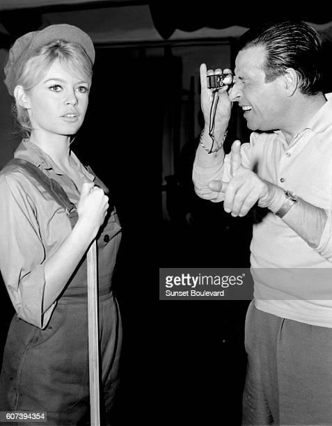 Brigitte Bardot and ChristianJaque on the set of Babette S'en VaTEn Guerre