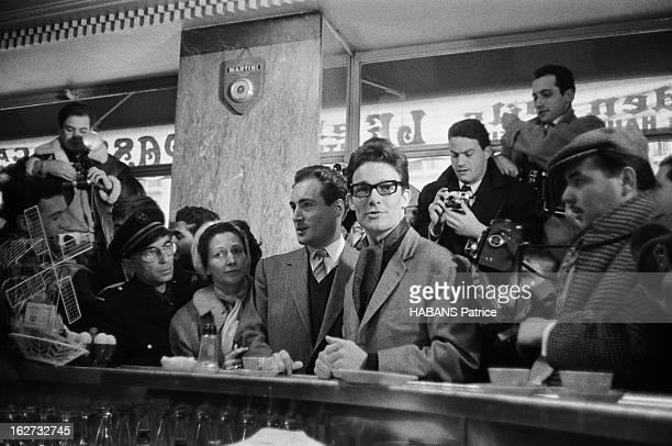 The Birth Of Their Son Nicolas Jacques CHARRIER fête la naissance de son fils Nicolas et reçoit les journalistes au Royal Passy le 11 janvier 1960