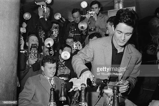 The Birth Of Their Son Nicolas Jacques CHARRIER fête au champagne la naissance de son fils Nicolas Il reçoit journalistes et photographes au Royal...