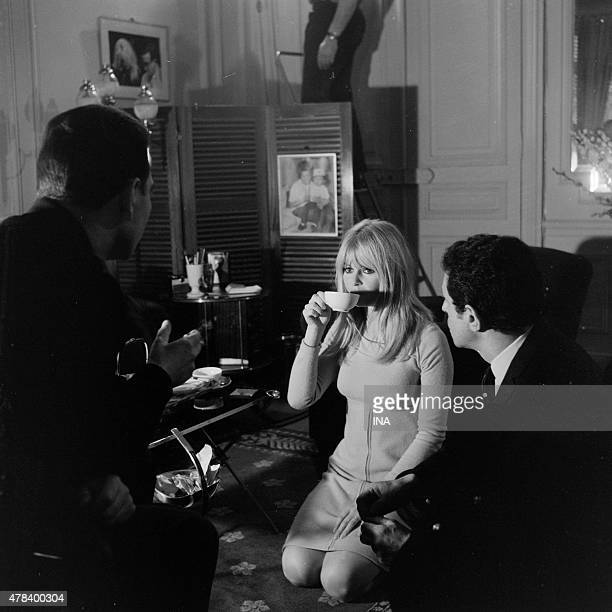 Brigitte Bardot and Jacques Nahum during the shooting of the program ''Devils and marvels of the cinema''
