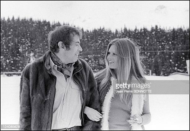 Brigitte Bardot and Roger Vadim in Meribel Les Allues France In February 1972