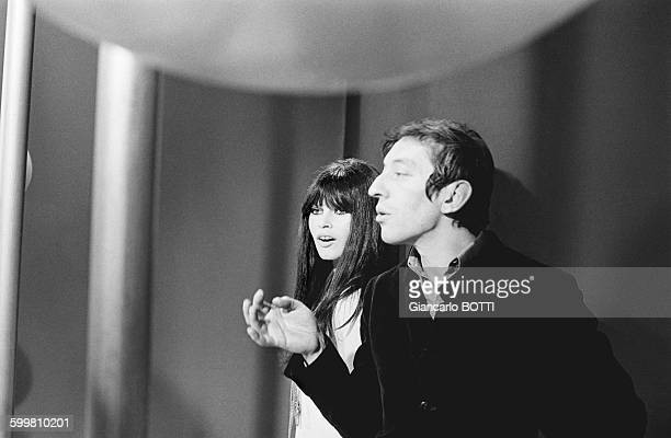 Brigitte Bardot and Serge Gainsbourg in 'Comic Strip' TV show directed by François Reinchebach in Paris France in December 1967