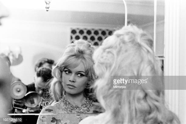 Brigitte Bardot arrives in London Thursday 9th April 1959 Brigitte is staying at the Mount Royal Hotel London She is in the country to complete her...