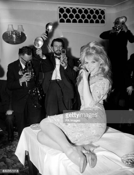 Brigitte Bardot at a London Hotel during a photocall after arriving in from Paris to start location shooting for her latest movie Babette Goes to War