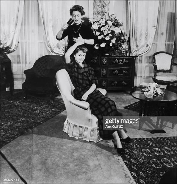 Brigitte Bardot at home in Paris 1952