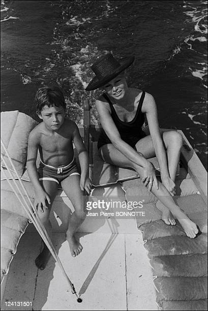 Brigitte Bardot at the madrague In Saint Tropez France In August 1967 With her son Nicolas Charrier