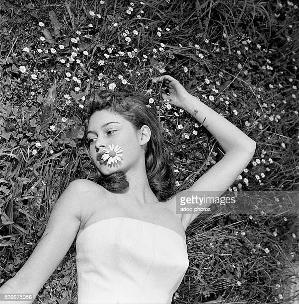 Brigitte Bardot , French actress. At Louveciennes in 1952.