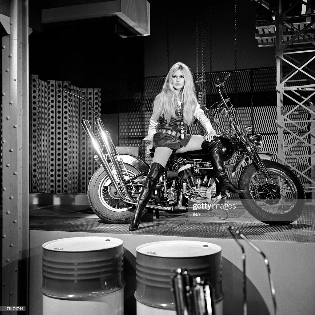 Brigitte Bardot in a direction of Serge Gainsbourg's song ''Harley Davidson'' during his show broadcast ''Special Hinny''