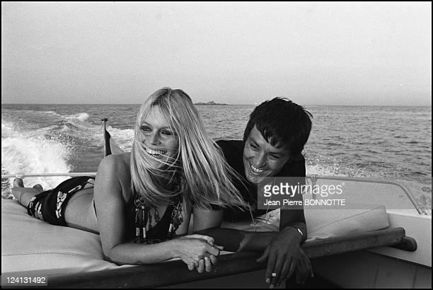 Brigitte Bardot In Saint Tropez France In August 1968 With Alain Delon