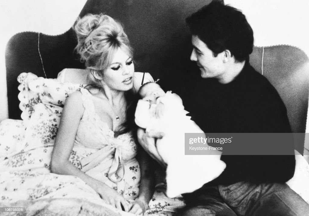 Brigitte Bardot, Jacques Charrier And Their Son Of 3 Days Old Nicolas. 1960 : News Photo