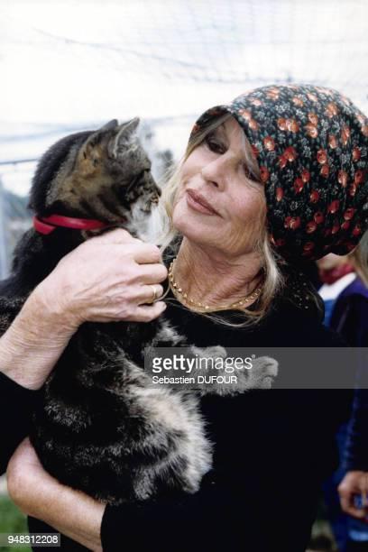 Brigitte Bardot lors du weekend d'adoption à la Fondation Brigitte Bardot au refuge de la Mare Auzou le 4 octobre 1998 à SaintAubinleGuichard France