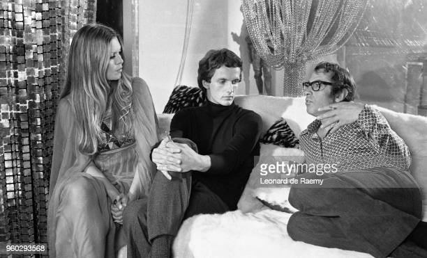 Brigitte Bardot Mathieu Carrière and Roger Vadim on the set of 'Don Juan 73' directed by Roger Vadim