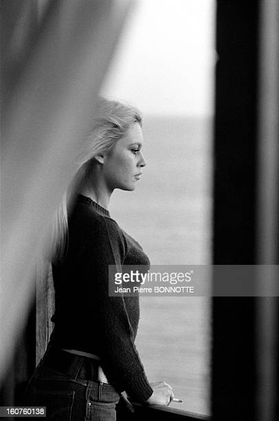 Brigitte Bardot smoking and looking at the sea on March 30 1968 in Almeria Spain