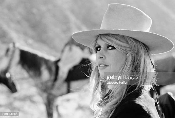Brigitte Bardot who plays Countess Irina Lazaar on the set during the filming of the 1968 western Shalaco