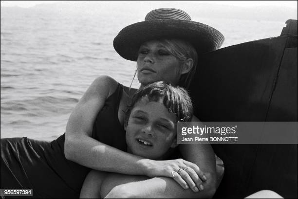 Brigitte Bardot with her son Nicolas Charrier at the Madrague in SaintTropez France in August 1967