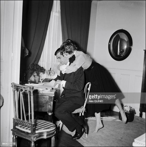 Brigitte Bardot with Roger Vadim at home 1952