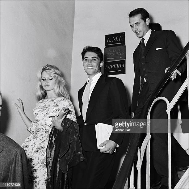 Brigitte Bardot with Sacha Distel in France in January 1958