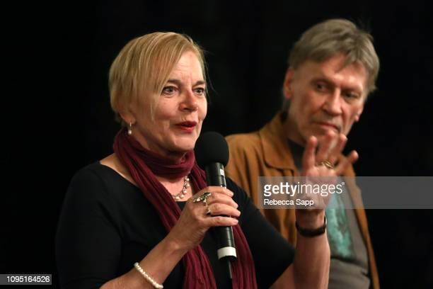 Brigitte Berman and John Kay speak at a screening of 'Hugh Hefner's After Dark Speaking Out in America' during the 34th Santa Barbara International...