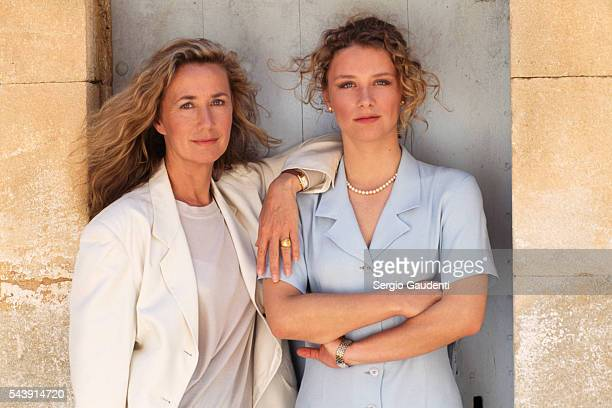 Brigitte Fossey and her daughter Marie Adam on the set of television series Le Chateau des Oliviers directed by Nicolas Gessner