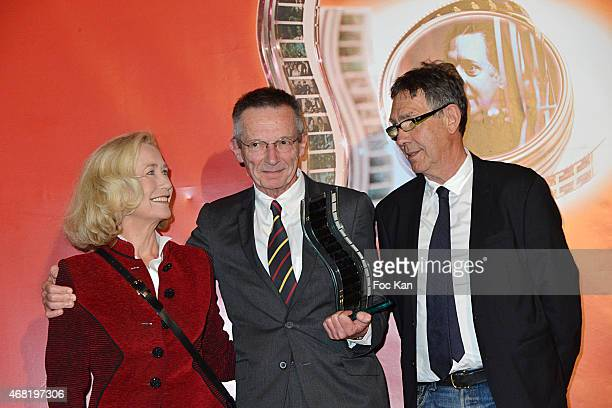 Brigitte Fossey awarded director Patrice Leconte and Jean Louis Langlois attend the 'Henri Langlois' 10th Award Ceremony At Unesco In Paris on March...