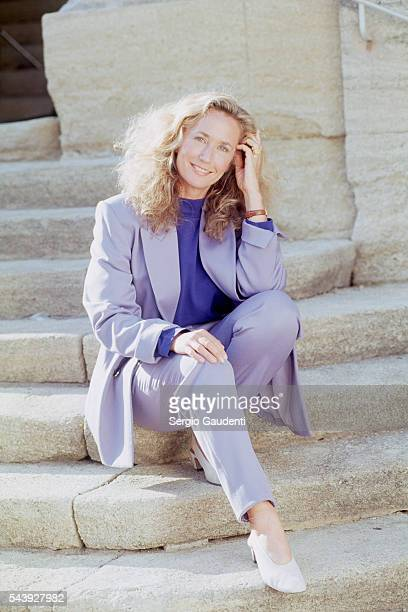 Brigitte Fossey on the set of television series 'Le Chateau des Oliviers' directed by Nicolas Gessner