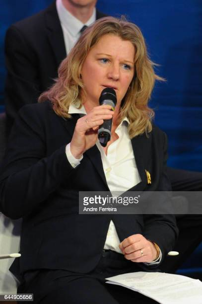 Brigitte Henriques during the press conference of Noel Le Graet presentation of his team for the presidential election of the French Football...