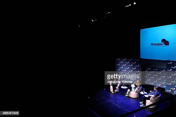 Brigitte Huber Judith Holofermes and Stephan Bartels are pictured during the 'Brigitte Live Die Stunden der Frauen' talk at Hamburger Kammerspiele on...