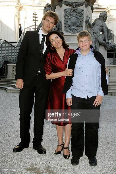 Brigitte Karnar and her sons Benedikt and Kaspar leave the premiere of 'Everyman' during the Salzburg Festival at Domplatz on July 26, 2009 in...