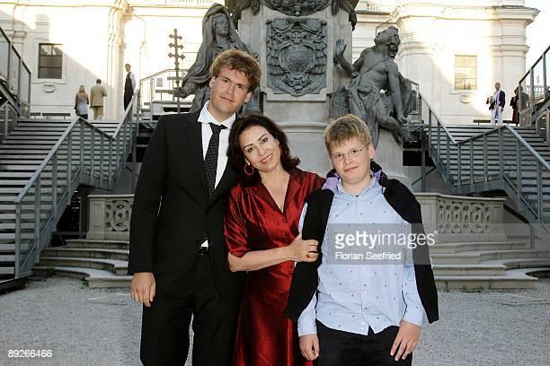 Brigitte Karnar and son Benedikt and Kaspar leaves after the premiere of 'Everyman' during the Salzburg Festival at Domplatz on July 26, 2009 in...