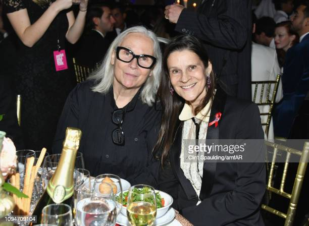 Brigitte Lacombe and Aileen Getty speaks onstage during the amfAR New York Gala 2019 at Cipriani Wall Street on February 6 2019 in New York City