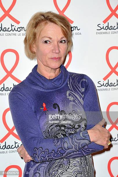 Brigitte Lahaie attends the Sidaction 2016 Launch party photocall at Musee du Quai Branly on March 7 2016 in Paris France