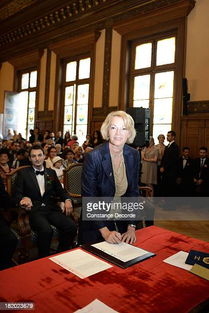 Brigitte Lahaie maid of honor at the IledeFrance Regional Councillor Socialist JeanLuc Romero and Christophe Michel's wedding on September 27 Paris...