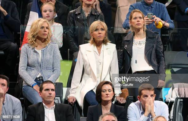 Brigitte Macron aka Brigitte Trogneux and her daughters Laurence Auziere and Tiphaine Auziere attend the campaign rally of French presidential...