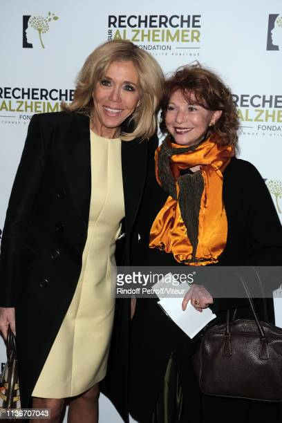 Brigitte Macron and Agathe Natanson attend the Charity Gala against Alzheimer's Disease At L'Olympia on March 18 2019 in Paris France
