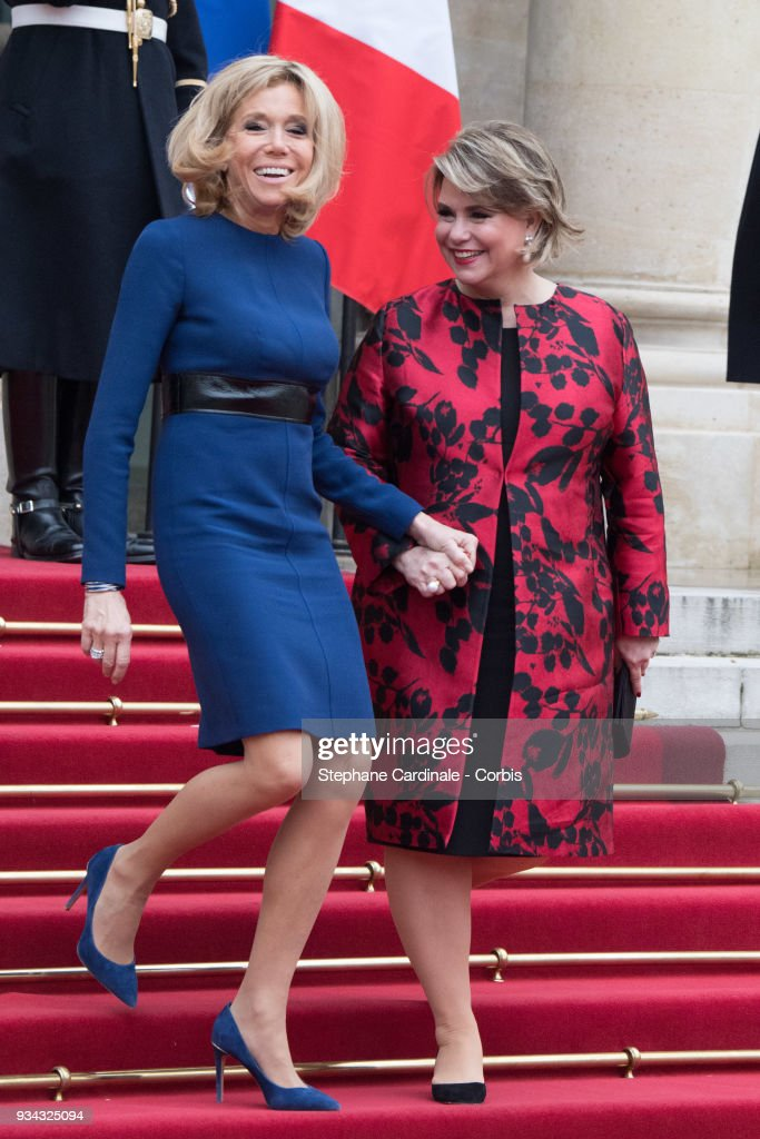 Brigitte Macron and Maria Teresa, Grand Duchess of Luxembourg in the courtyard of Elysee Palace on March 19, 2018 in Paris, France. Grand-Duke Henri Of Luxembourg and Grand-Duchess Maria Teresa Of Luxembourg attend a three days state visit to France.
