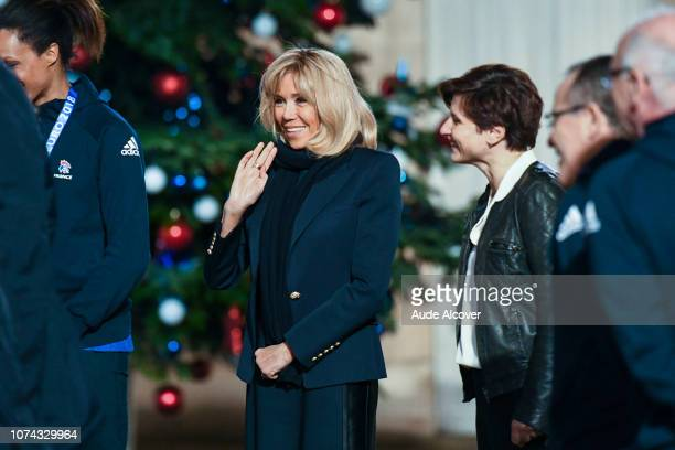 Brigitte Macron and sports minister Roxana Maracineanu during the Reception at the Elysee in honor of the French Women's Handball team European...