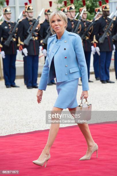 Brigitte Macron arrives at the Elysee presidential Palace prior to the handover between outgoing French President Francis Hollande and newly elected...