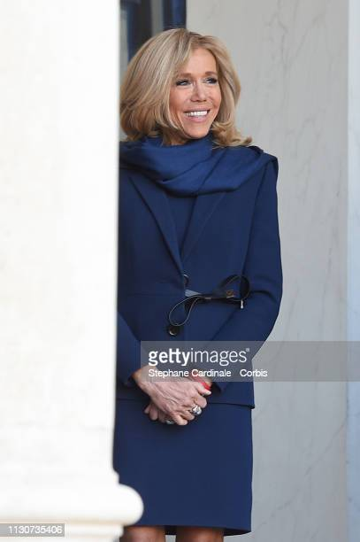 Brigitte Macron attends the first meeting G7 Advisory Committee For Equality Between Women and Men at Elysee Palace on February 19 2019 in Paris...